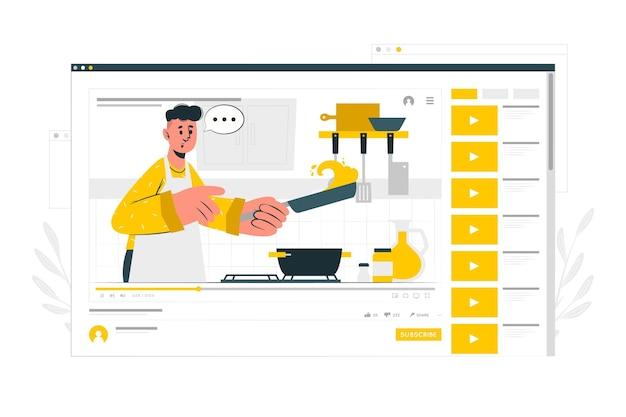 Ilustración de concepto de video tutorial