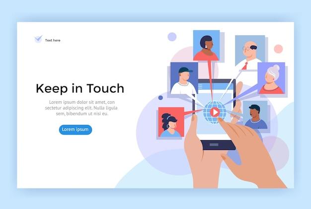 Ilustración de concepto de videollamada y conferencia en línea