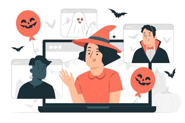 Ilustración de concepto de videollamada de halloween