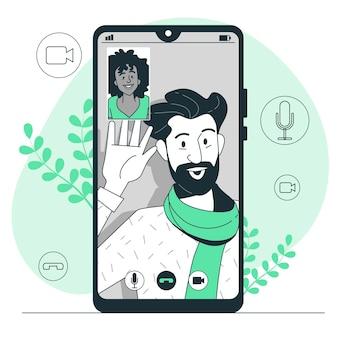 Ilustración del concepto de videollamada