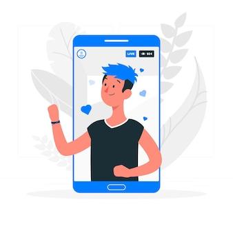 Ilustración del concepto de videos en directo de instagram