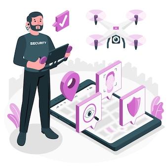 Ilustración de concepto de vigilancia de drones
