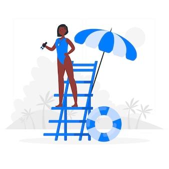 Ilustración del concepto de vigilante de la playa