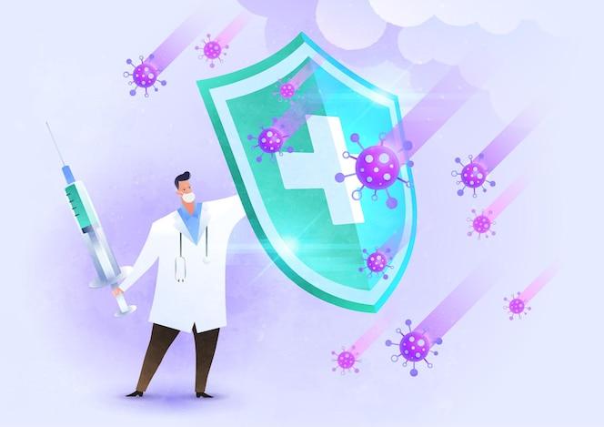Ilustración de concepto de virus de lucha contra la vacunación con el médico levantando el escudo contra el virus y luchando con la vacuna