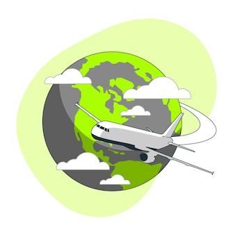 Ilustración del concepto de volando alrededor del mundo (con avión)