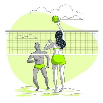 Ilustración del concepto de voleibol en la playa