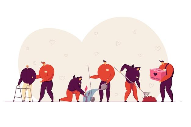 Ilustración del concepto de voluntariado y caridad