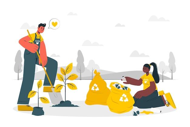 Ilustración del concepto de voluntariado