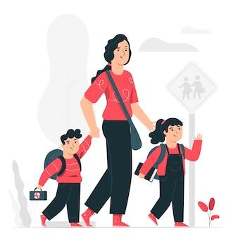 Ilustración del concepto de vuelta al colegio