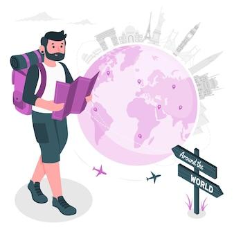 Ilustración del concepto de la vuelta al mundo