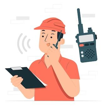 Ilustración del concepto de walkie talkie