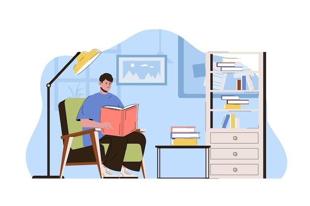 Ilustración de concepto de web de estudiante universitario con carácter de personas planas