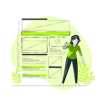 Ilustración del concepto de wireframing