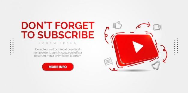 Ilustración conceptual abstracta del icono de youtube 3d aislado en blanco.