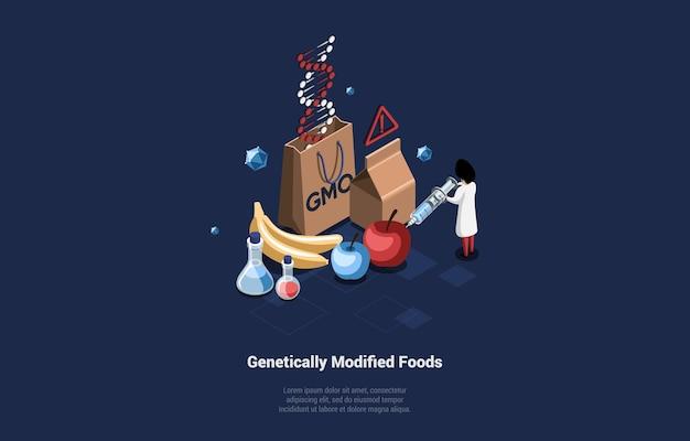 Ilustración conceptual de alimentos genéticamente modificados y científico en bata inyectando apple con jeringa.