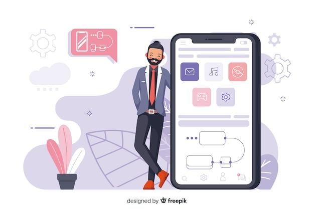Ilustración conceptual aplicaciones móvil