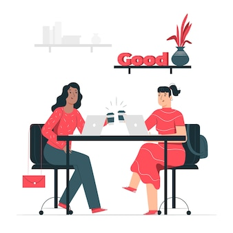 Ilustración conceptual compañeros de trabajo