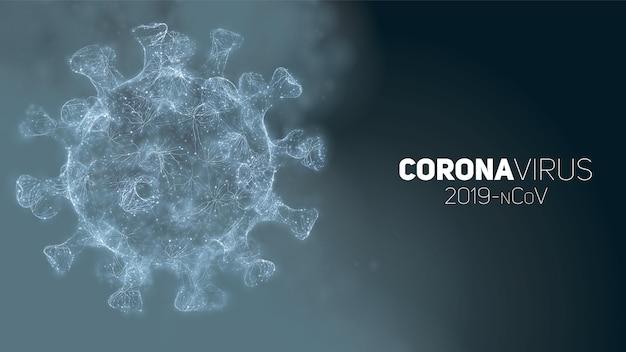 Ilustración conceptual de coronavirus. forma de virus 3d sobre un fondo abstracto. visualización de patógenos.