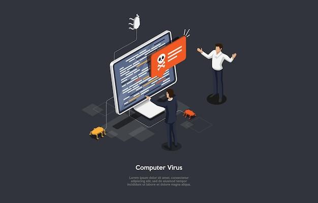 Ilustración conceptual de la idea de virus de internet de computadora.