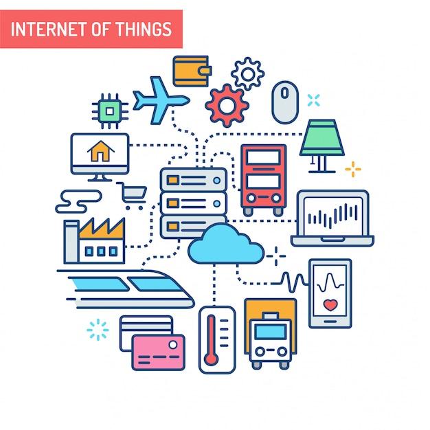 Ilustración conceptual de internet de las cosas