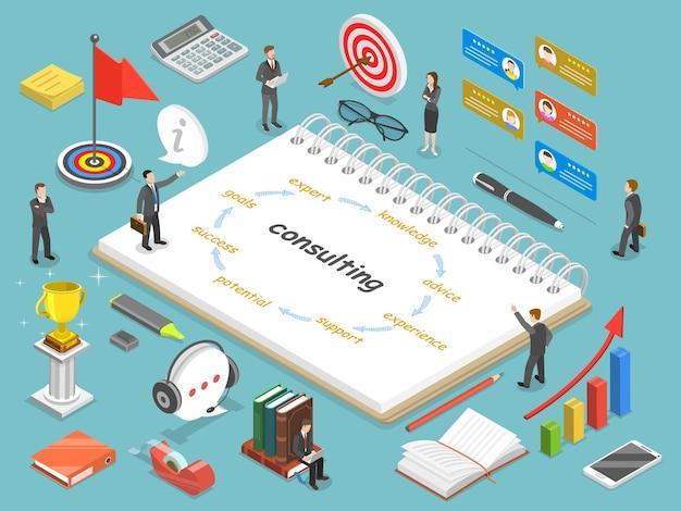 Ilustración conceptual isométrica plana de consultoría empresarial.