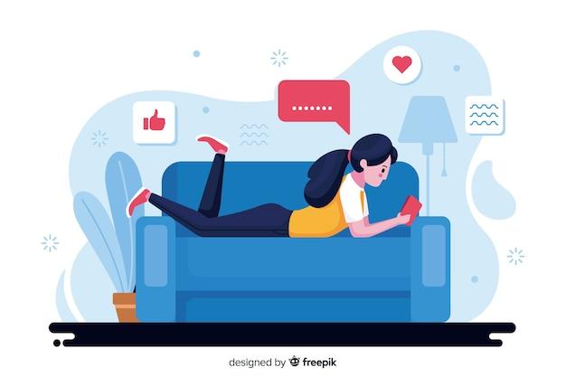 Ilustración conceptual relajarse en casa
