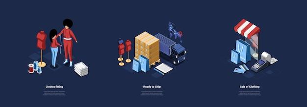 Ilustración conceptual sobre el proceso de confección y venta de ropa