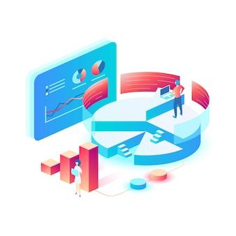 Ilustración conceptual vectorial moderna para análisis de datos, marketing digital, estática, desarrollo empresarial.