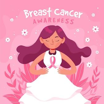 Ilustración de conciencia de cáncer de mama con mujer