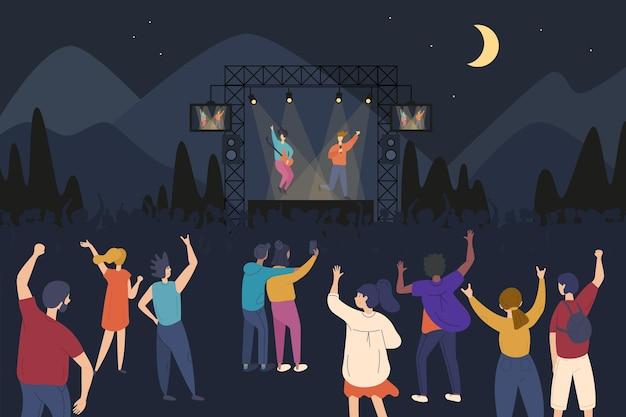 Ilustración de concierto al aire libre