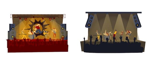 Ilustración de concierto de banda de rock, rockero de dibujos animados, hombre mujer música rockstar con micrófono, cantante cantando en el escenario