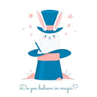 Ilustración de conejito mago lindo con estrellas