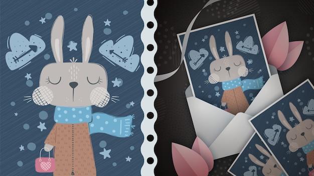 Ilustración de conejo de invierno para tarjeta de felicitación