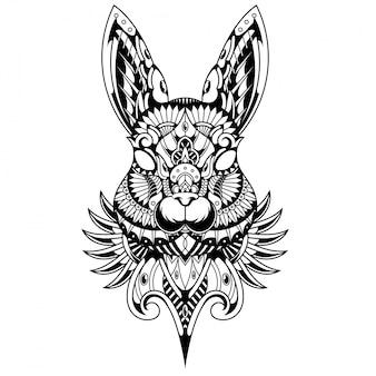 Ilustración de conejo, zentangle mandala y diseño de camiseta.