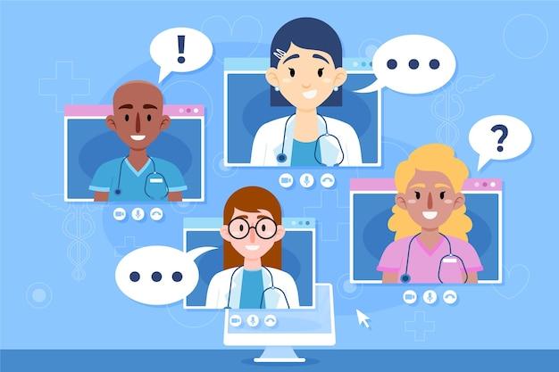 Ilustración de conferencia médica en línea plana