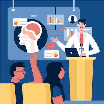 Ilustración de conferencia médica plana orgánica