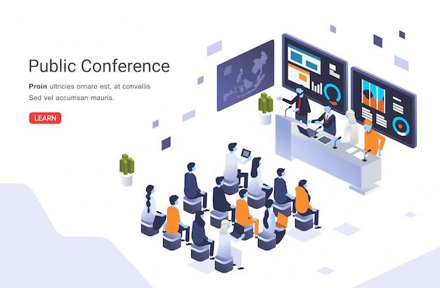 Ilustración de conferencia pública internacional con muchos participantes sentados frente a los entrevistados