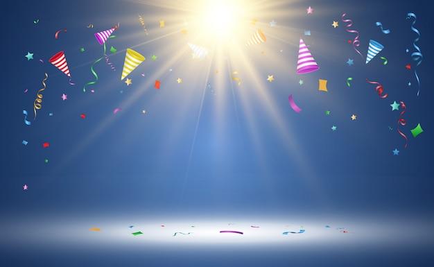 Ilustración de confeti cayendo sobre un fondo transparente.
