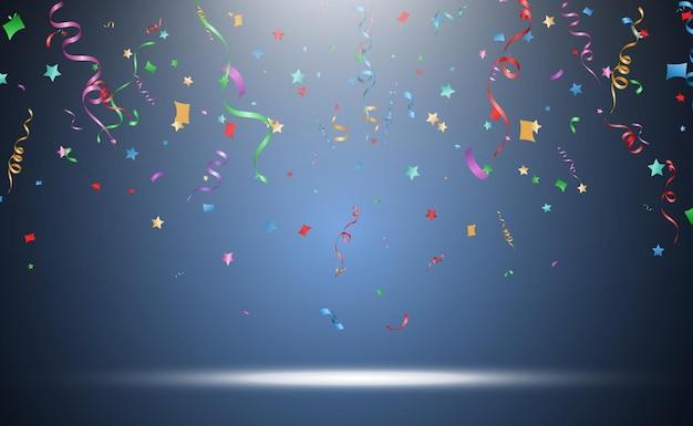 Ilustración de confeti cayendo sobre transparente