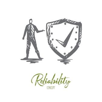 Ilustración de confiabilidad dibujada a mano