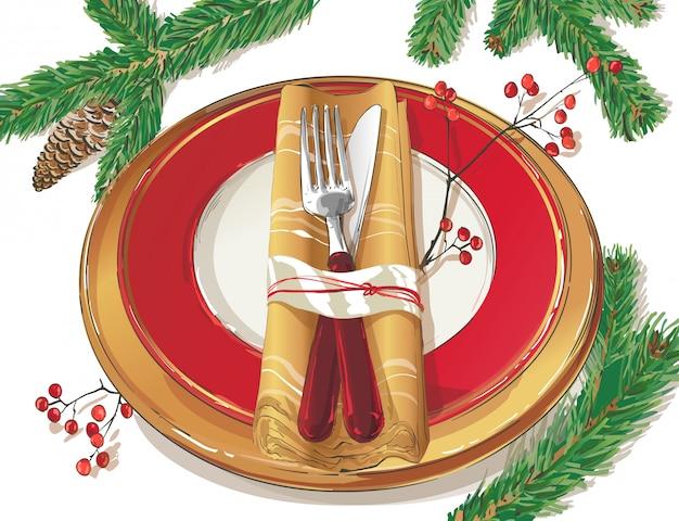 Ilustración de configuración de decoración de mesa de navidad