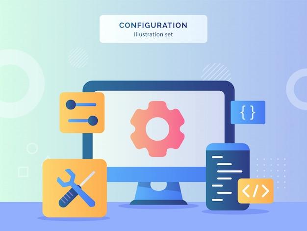 La ilustración de configuración establece el engranaje en la pantalla, el monitor, la computadora, cerca, el destornillador, la llave, el programa de lenguaje de codificación con estilo plano