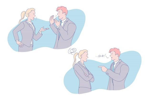 Ilustración de conflicto empresarial
