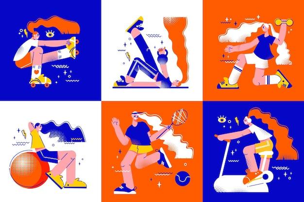 Ilustración de conjunto de actividades de fitness
