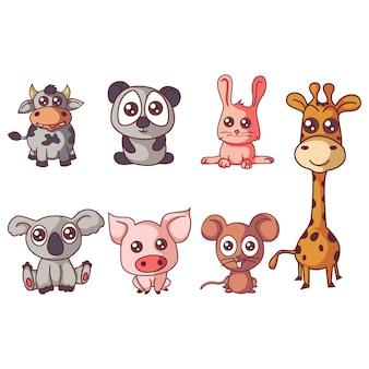 Ilustración del conjunto de animales de dibujos animados.