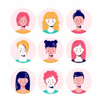 Ilustración de conjunto de avatar de mujer