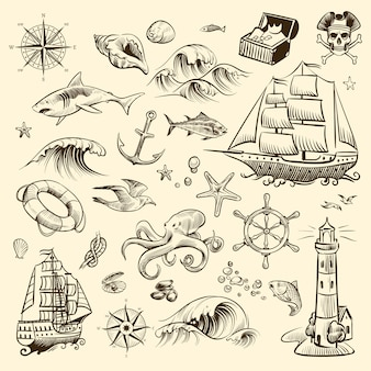 Ilustración de conjunto de aventura pirata