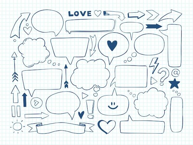 Ilustración. conjunto de burbujas de discurso y otros elementos de doodle