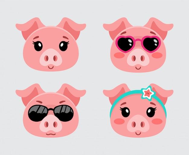 Ilustración del conjunto de cabeza de cerdo