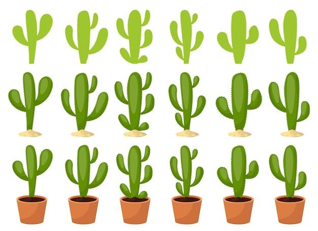Ilustración de conjunto de cactus aislado sobre fondo blanco